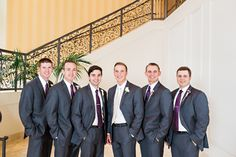 Charcoal Suit with plum tie #groom #groomsmen #weddingday // Leslie Herring Events // Kristen Edwards Photography