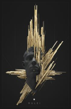 Artwork // By Philip Harris-Genois (ArtStation) 3d Cinema, Or Noir, Glitch Art, 3d Prints, Gold Art, Graphic Design Inspiration, Creative Inspiration, Dark Art, Art Inspo