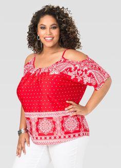 d5792fe68776c8 Bandana Cold Shoulder Top Ashley Stewart Plus Size Summer Outfit, Plus Size  Outfits, Trendy