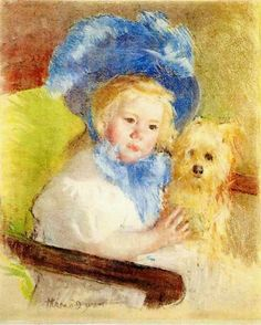 Mary Cassatt (1844-1926) Simone In A Large Plumed Hat Seated Holding A Griffon Dog