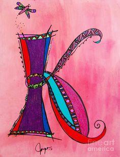 Letter K ♥ Monogram Canvas Print / Canvas Art by Joyce Auteri Alphabet Art, Calligraphy Alphabet, Letter Art, Doodle Lettering, Creative Lettering, Typography, Doodles Zentangles, Zentangle Patterns, Zen Doodle