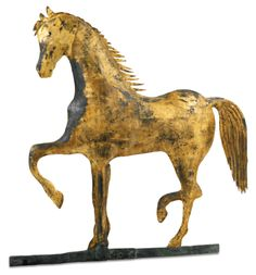 MOLDED AND GILDED COPPER PRANCING HORSE WEATHERVANE, A.L. JEWELL & CO., WALTHAM, MASSACHUSETTS | lot | Sotheby's