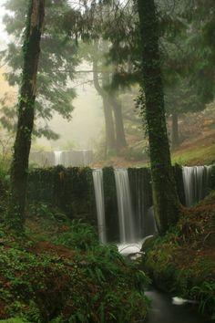 Double Waterfall, Basque Country, Spain photo via debi