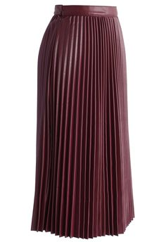 Pleated Faux Leather Midi Skirt in Wine