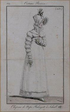 1814 Costume Parisien Plate No 1430 Regency Dress, Regency Era, 1800s Fashion, Vintage Fashion, Empire Design, Woman Illustration, Antique Paint, Historical Clothing, Vestidos