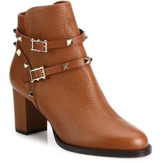 Valentino Women's Rockstud Pebbled Leather Block-Heel Booties ($1,375) ❤ liked on Polyvore featuring shoes, boots, ankle booties, light cuir, women's shoes - valentino, valentino boots, ankle strap boots, strappy booties, bootie boots and slip on ankle boots