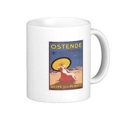 Vintage Ostend Belgium Travel Poster Art Coffee Mug #mugs #Belgium #gifts