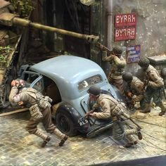 """Diorama of the day: """"Move, Move, Move!"""" by the talented Kazuya Yoshioka Just Miniatures, American Press, Best Scale, Scale Models, Vignettes, Ww2, Monster Trucks, Vehicles, Beautiful"""