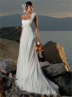 A-line One Shoulder Empire With Hand Made Flower Chiffon Beach Wedding Dress WD1433 www.tidedresses.co.uk $232.0000