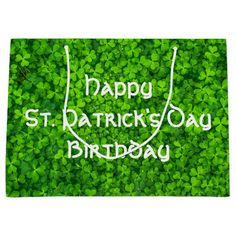 Shamrocks Clover Leaves St. Patrick's Day Birthday Large Gift Bag
