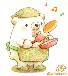 Cute Cartoon Drawings, Cute Kawaii Drawings, Cute Animal Drawings, Kawaii Art, Kawaii Illustration, Character Illustration, Cute Kawaii Animals, Bear Art, Cute Bears