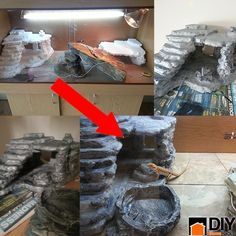 DIY Reptile Hiding Space and Climbing Rocks~love this! I am making it!