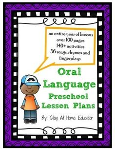 Oral language preschool lesson plans include over 140 no prep activities designed to increase oral language skills in preschool. Also includes 36 posters for nursery rhymes, chants, fingerplays and poems!