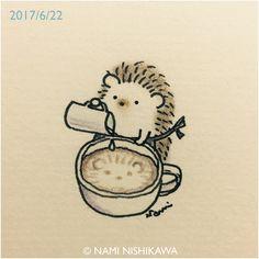 1215 варистор 2 бариста 2 Harisuta является латт искусства Riko как? Hedgehog Drawing, Hedgehog Art, Cute Hedgehog, Hedgehog Illustration, Illustration Art, Dibujos Cute, Doodle Art, Easy Drawings, Art Sketches
