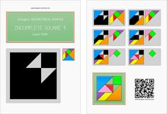 Tangram worksheet 168 : Incomplete square 4 - This worksheet is available for free download at http://www.tangram-channel.com