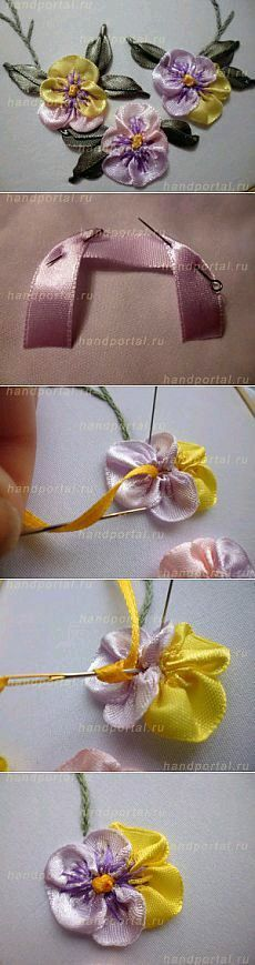 Wonderful Ribbon Embroidery Flowers by Hand Ideas. Enchanting Ribbon Embroidery Flowers by Hand Ideas. Ribbon Art, Fabric Ribbon, Ribbon Crafts, Flower Crafts, Fabric Flowers, Rose Flowers, Ribbon Embroidery Tutorial, Silk Ribbon Embroidery, Crewel Embroidery