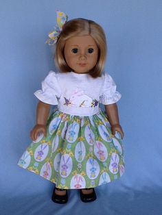 18 inch doll dress and hair clip.  Easter dress by ASewSewShop