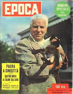 "Cover of Italian magazine, ""Epoca"" (April 23, 1954) - Charlie Chaplin with his Siamese cat"