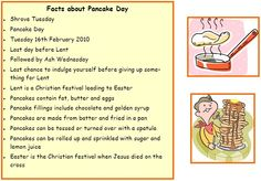 Pancake day facts - Try this memory test to get pupils to remember facts about Pancake Day. Pancake Day Facts, Pancake Day Shrove Tuesday, Pancake Fillings, Easter Crafts, Crafts For Kids, 40 Days Of Lent, Religion Activities, Beaver Scouts, Mister Wolf