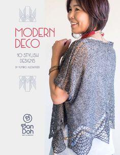 "E-book DanDoh Designs ""Modern Deco"" designed by Yumiko Alexander Knitting Kits, Knitting Designs, Free Knitting, Stitch Patterns, Knitting Patterns, Crochet Patterns, Sweater Patterns, Crochet Shawl, Knit Crochet"