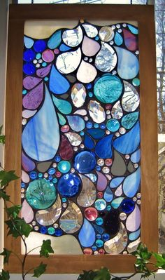 rain drops stained glass window Art: Stained Glass (CTS) I want this to be the window behind my garden tub Stained Glass Designs, Stained Glass Panels, Stained Glass Projects, Stained Glass Patterns, Stained Glass Art, Mosaic Art, Mosaic Glass, Window Art, Colored Glass