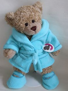 Teddy Bear Clothes Blue Soft n Cosy Robe Slippers