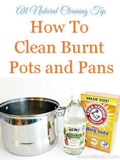 How To Clean Burned Pots and Pans in minutes! Cleans burnt of food and stains easily. via @Mom4Real