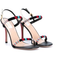 Valentino Beaded Leather Sandals (995 BAM) ❤ liked on Polyvore featuring shoes, sandals, heels, chaussure, black beaded sandals, red heel sandals, ankle strap heel sandals, leather sandals and high heel stilettos