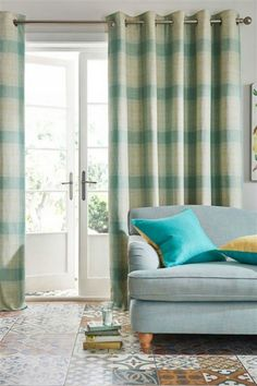 """NEXT Teal Textured Woven Check Eyelet Lined Curtains 228x229cm 90x90"""" NEW   eBay"""