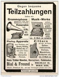 Original-Werbung/ Anzeige 1905 - GRAMMOPHONE / ZITHERN U.A. / BIAL & FREUND BRESLAU - ca. 70 x 100 mm