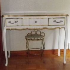 Portland: GORGEOUS VINTAGE FRENCH PROVINCIAL VANITY DESK WITH MIRROR and STOOL !  $250 - http://furnishlyst.com/listings/185744