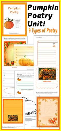 Students will love writing 9 DIFFERENT types of poetry about pumpkins (and the season!) Download available @ http://www.christianhomeschoolhub.spruz.com/holiday-and-seasonal-related.htm