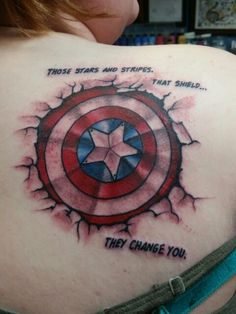 Captain America tattoo by Nick at Blue Line Tattoo in La Crosse, WI - Visit to grab an amazing super hero shirt now on sale! Super Hero Tattoos, Super Hero Shirts, Captain America Tattoo, Chris Evans Captain America, Avengers Tattoo, Marvel Tattoos, Line Tattoos, Cool Tattoos, Tattoo Art