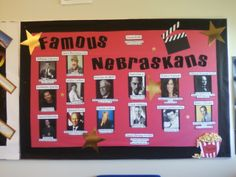 Famous Nebraskans bulletin board - from my S.S. methods class - great for 4th graders studying our state!