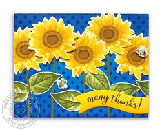 Sunny Studio Stamps: Sunflower Fields Layered Flower Many Thanks Polka-dot Card (using Background Basics Stamps & Little Angels Banner die) Sunflower Cards, Sunflower Fields, Sunnies Studios, Vintage Jars, Fall Gifts, Fall Bouquets, Clear Stamps, Dots, Polka Dot