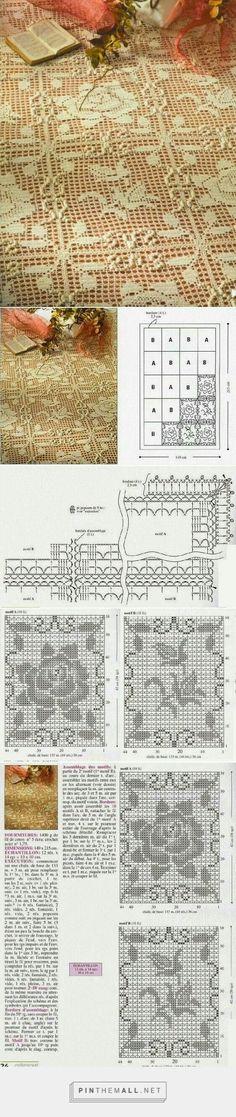 narzuta / szydełko // Crochet and arts: bedspreads - created via… Filet Crochet, Crochet Cross, Crochet Quilt, Crochet Art, Crochet Squares, Thread Crochet, Love Crochet, Irish Crochet, Crochet Motif
