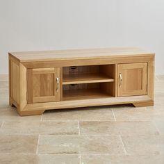 £299 124 cm oak furnitureland Bevel Natural Solid Oak Widescreen TV + DVD Cabinet