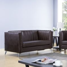 Upgrade your space with this elegant sofa set featuring pleated back design and angled metal legs. The pocket coil cushions provide firm seating and the microfiber backed faux leather is soft yet sturdy and easy to clean. Elegant Sofa, Brown Sofa, Online Furniture Stores, Sofa Set, Contemporary Design, Love Seat, Cushions, Legs, Room