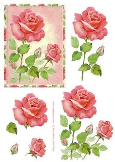 3D Decoupage sheet, using a painting of beautiful red roses. Matching sheets…