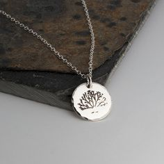 Silver Tree Charm,Lariat Necklace,Silver Necklace,Tree Charm,Handmade Necklace,Hand Stamp,Minimalist Jewelry, Silver Charm,Gift For her by FAJMinimalist on Etsy