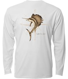 """Southern Cross Apparel Winds"""" performance fishing shirt on White. Fishing Shirts, Fashion Forward, T Shirts For Women, Long Sleeve, Mens Tops, Southern, Outfits, Clothes, Hunting"""