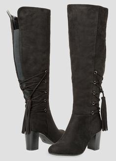 7476f620d83 Womens Plus Size Tassel Detail Boot Wide Calf Wide Width Stretch Knee High  Boots