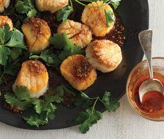 Scallops with Spice Oil Recipe   Epicurious.com