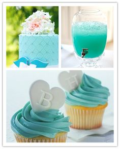 Tiffany Blue Wedding Cake, Drinks & Cupcakes