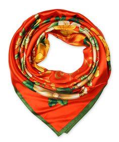 corciova Women's Graphic Print Silk Feeling Square Scarf Neckerchief 35x35 Inches Orange $9.99 Free Shipping