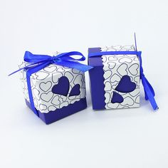 100pcs Royal Blue Wedding Candy Box Sweet Heart Wedding Favors and Gifts Wedding Souvenirs Casamento Decoration Mariage