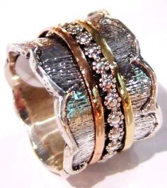 Silver gold ring floral spinner ring designer jewelry by Bluenoemi, $210.00
