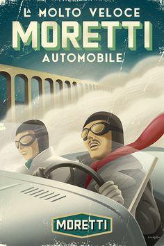Vintage style race car poster by Michael Crampton.