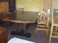 Dining Table 8 seat ironwood with sneezewood trim , aged sneezewood legs with ironwood base … Table Settings, Dining Table, Iron, Furniture, Home Decor, Products, Decoration Home, Room Decor, Dinner Table