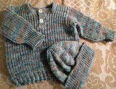 Little Fisherman's Rib Henley Sweater - a free pattern on Ravelry. This yarn makes this sweater so cute.